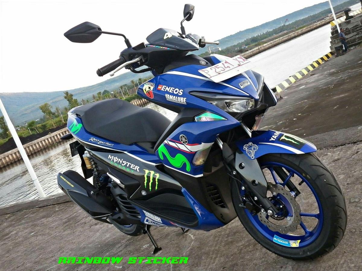 Yamaha Aerox 155 VVA Livery Movistar Garapan Rainbow Sticker Banyuwangi Ini Keren Pol !!!